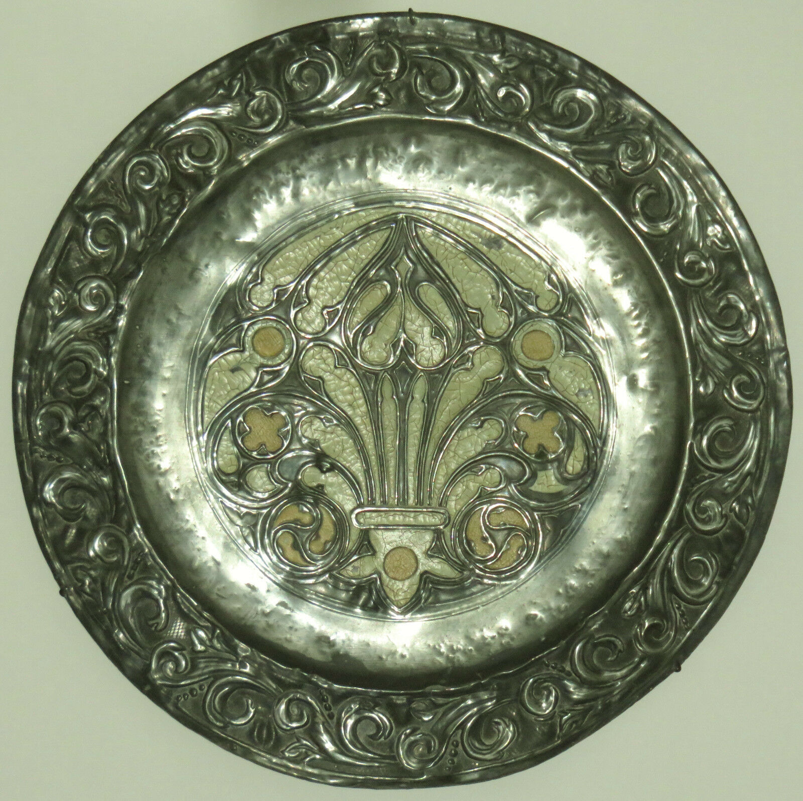 STUNNING LARGE FRENCH GOTHIC CHARGER WALL HANGING PLATE PLAQUE REPOUSSE 20 ins