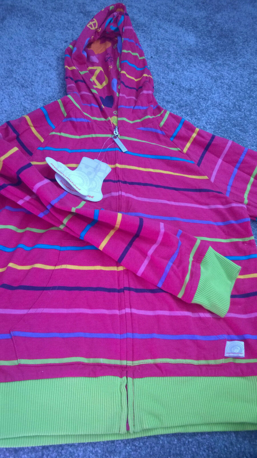 Little Miss Matched Reversible Hoodie Zip Up Jacket Large (Approx Age 8) NWT