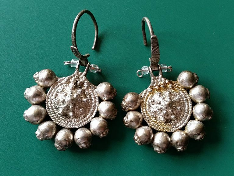 MAGNIFICENT jewelry!!! - silver alloy earrings 19th century Ottoman Empire.