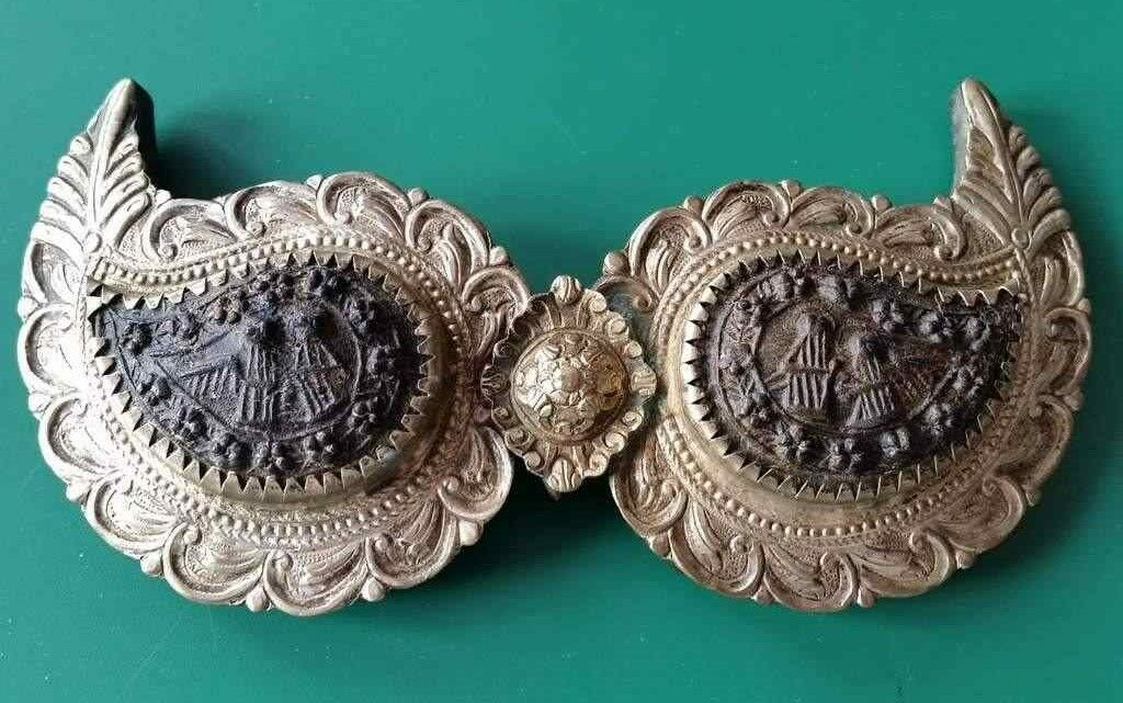 RARE Antique silver alloy belt buckle with tiles of buffalo horn+angels  19th C.