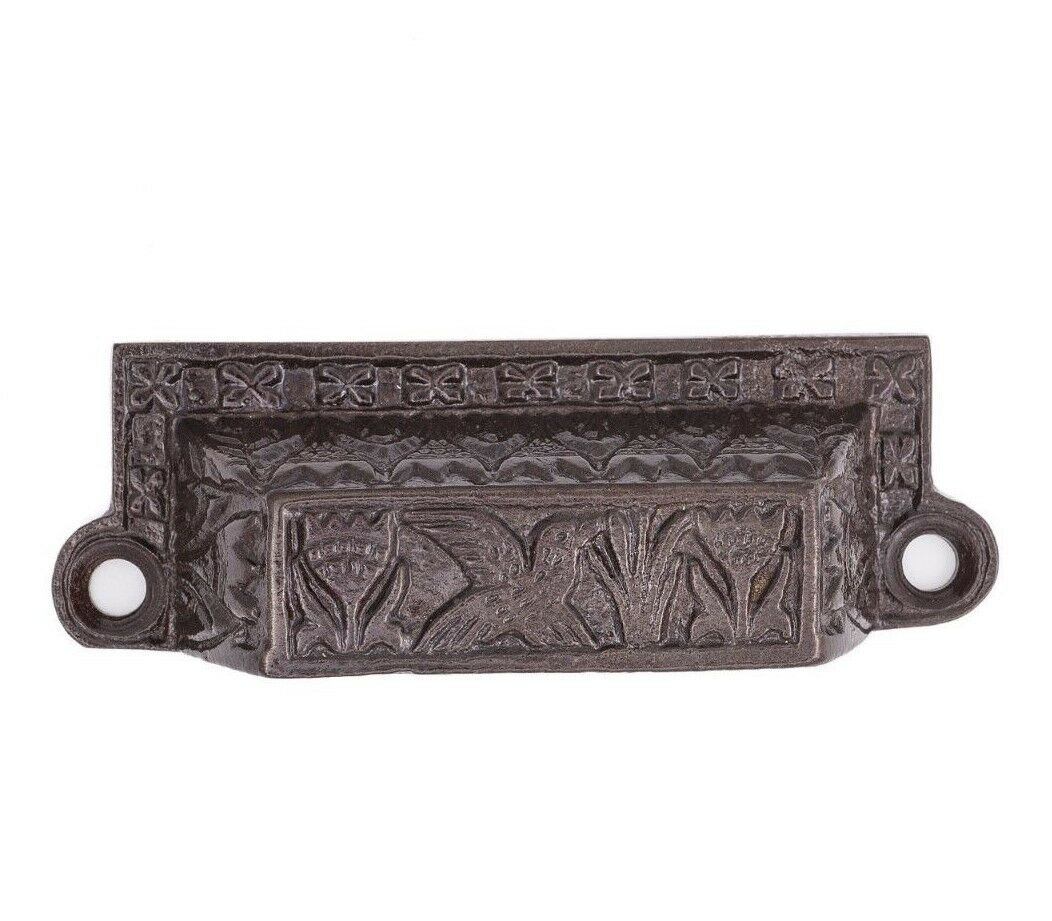 Bird and Tulip Cast Iron Bin Pull For Kitchen, Mudroom, Cabinet Drawers