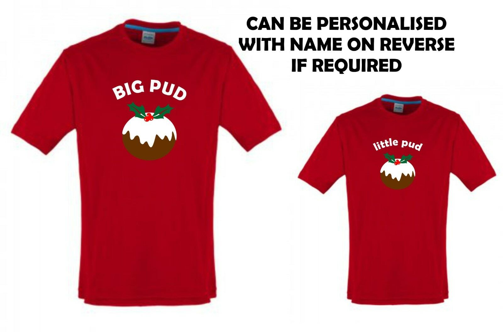 BIG PUD little pud adult & child T-shirt combo Christmas gift set personalised