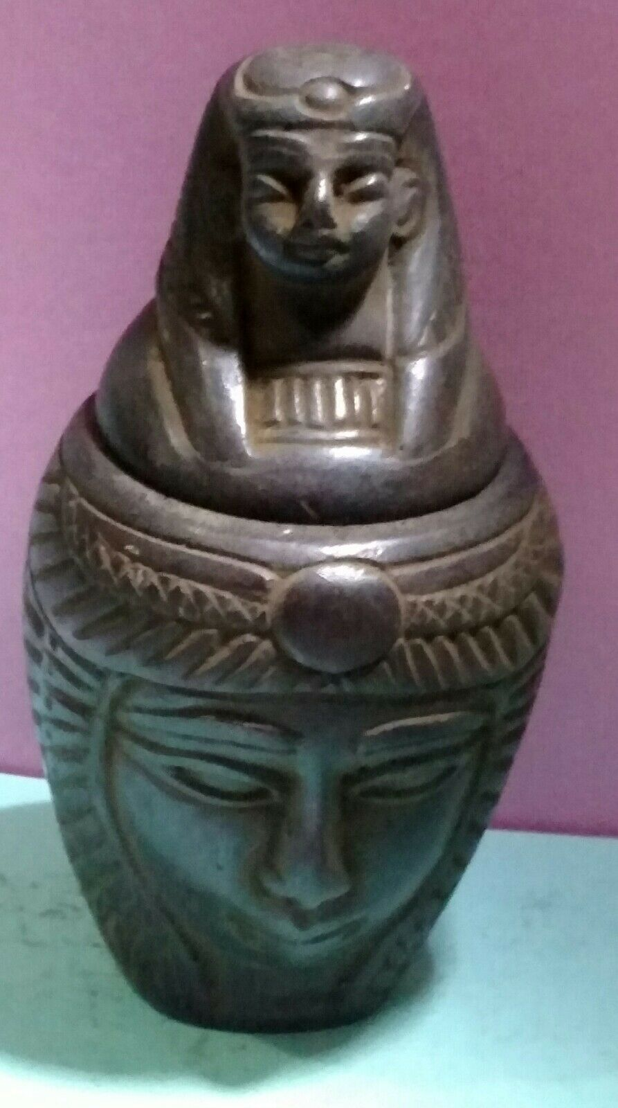 Egyptian Antique, Isis Goddess of Marriage,  Canopic Jar 93 g, see description