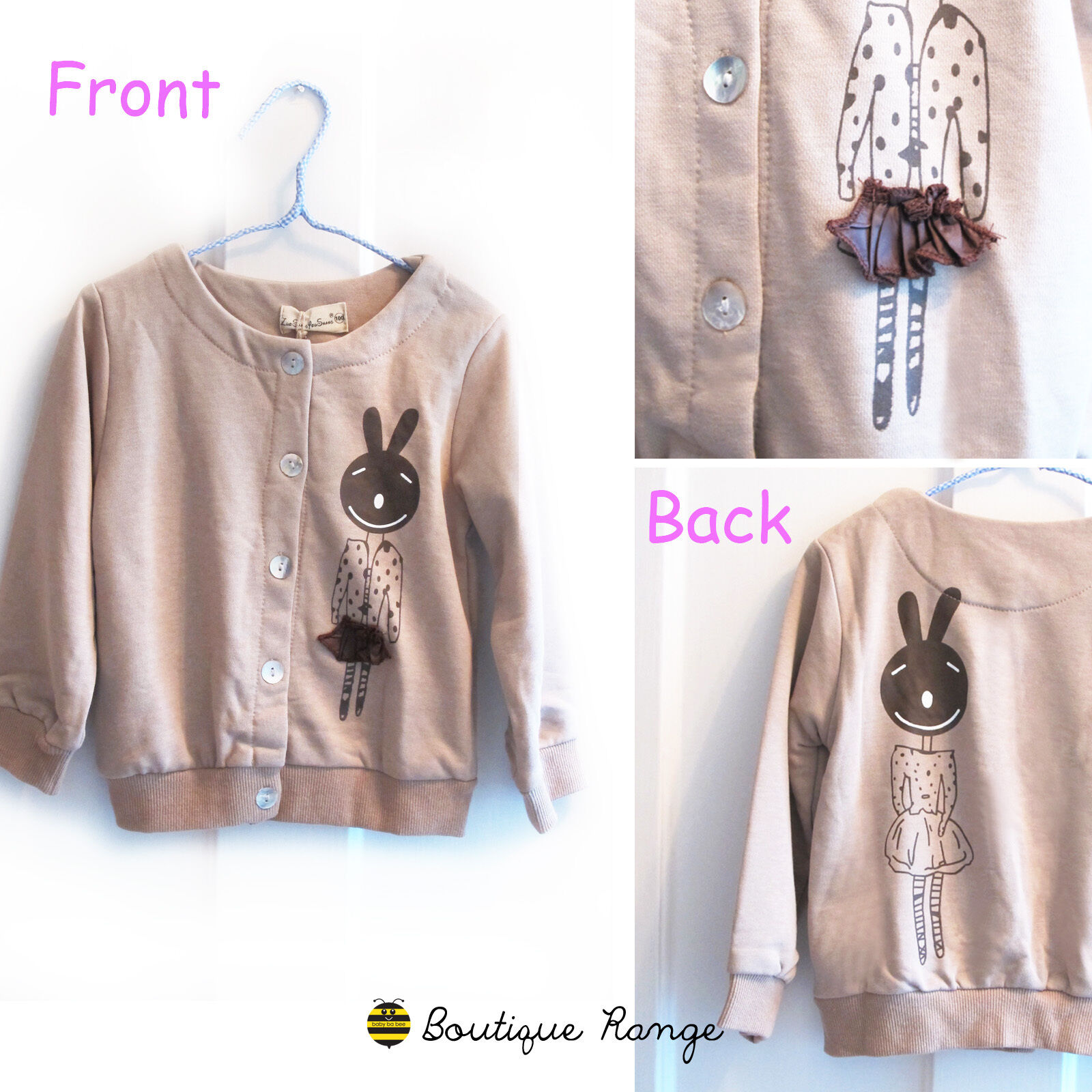 Girls Toddlers Smart Cute Lovely Cotton Bunny Cardigan in Light Brown (1-6Y)