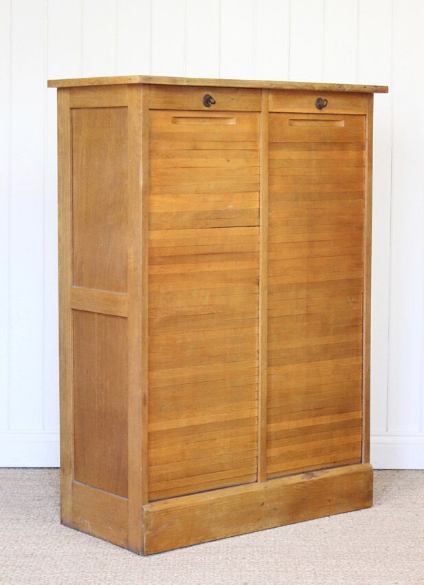 Vintage French Wooden Oak Double Tambour Filing Cabinet Mid Century