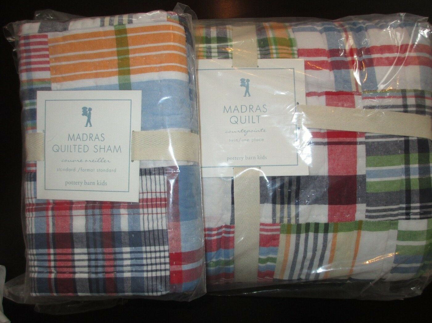 nwt pottery barn kids madras navy twin quilt standard. Black Bedroom Furniture Sets. Home Design Ideas
