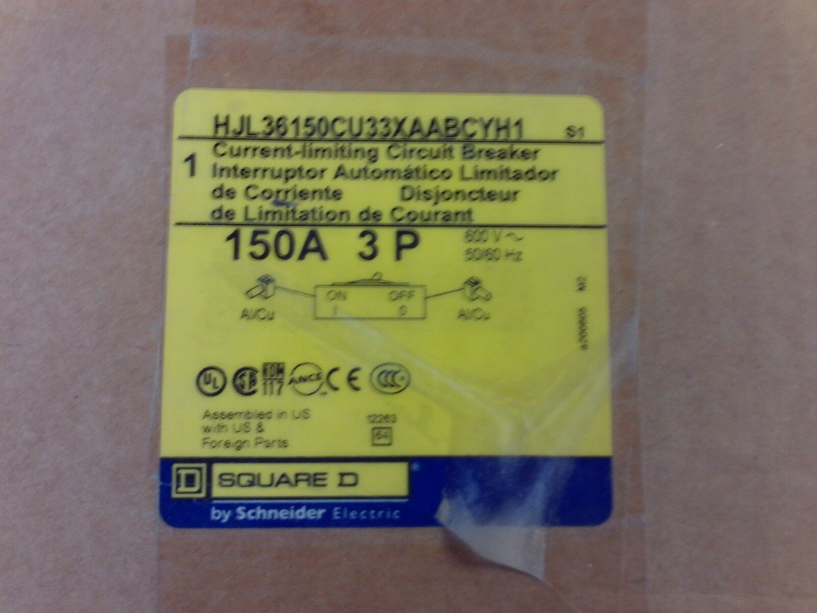 Square D Hjl36150 Hjl36150cu33xaabcyh1 Current Limiting Circuit B 1 Of 3only Available
