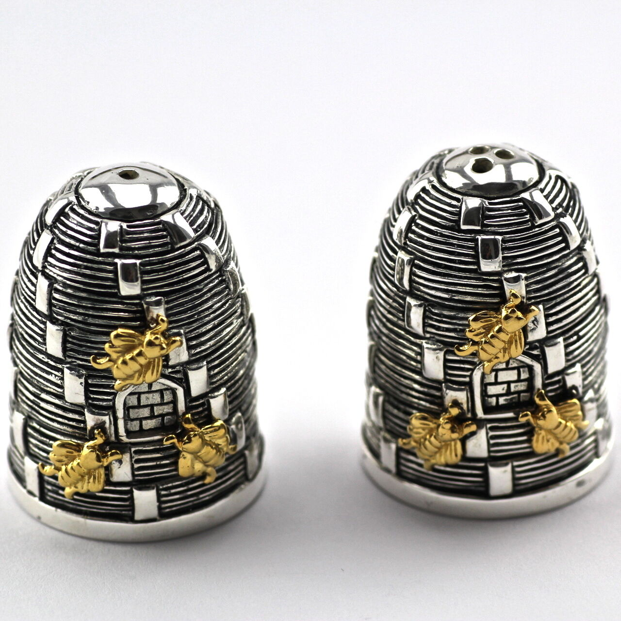 Novelty Victorian Style Beehive Bees Salt And Pepper