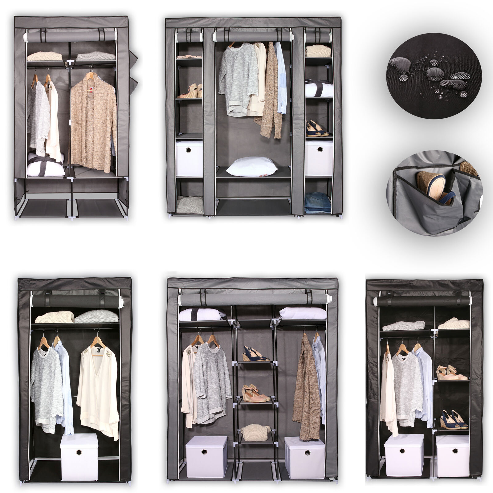 faltschrank kleiderschrank garderobenschrank campingschrank stoffschrank textil eur 15 99. Black Bedroom Furniture Sets. Home Design Ideas