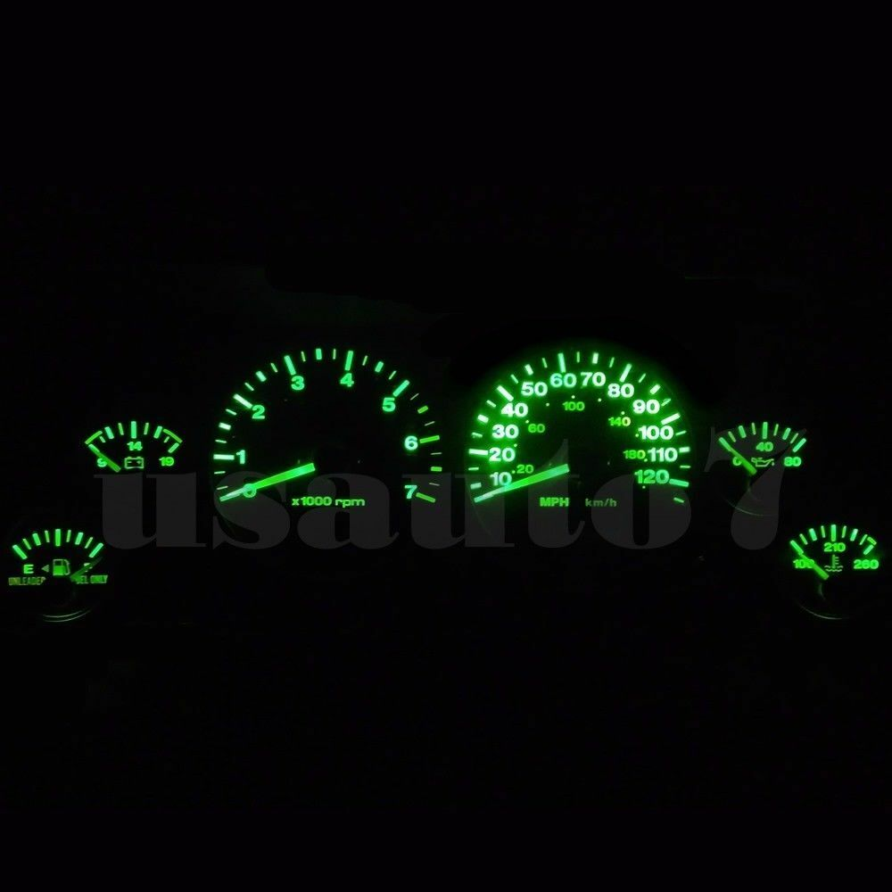 Jeep Grand Cherokee Dash Light Bulbs 1196 Wiring 99 01 Instrument Cluster Gauge Green Led Bulb Kit