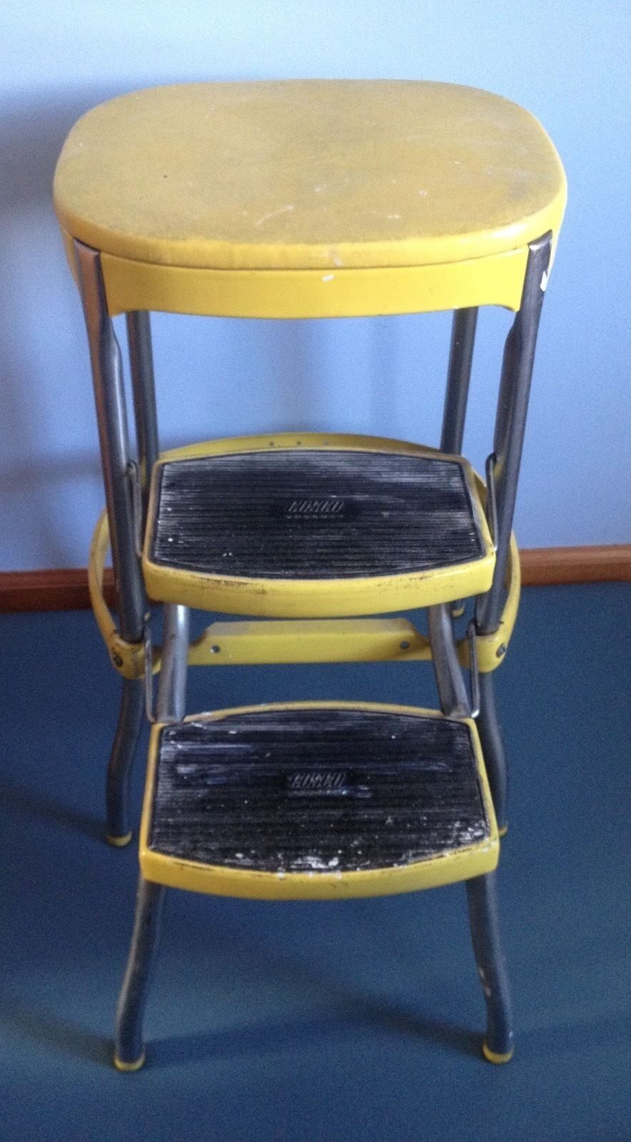 Vintage Cosco Step Stool Yellow Retro Metal Pull Out Steps