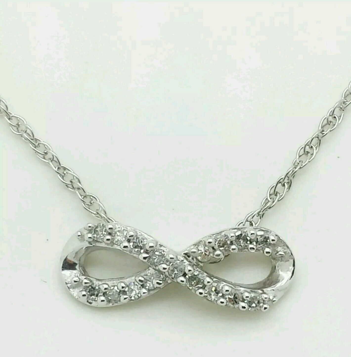 10k Solid White Gold Diamond Infinity Necklace Pendant Chain 10