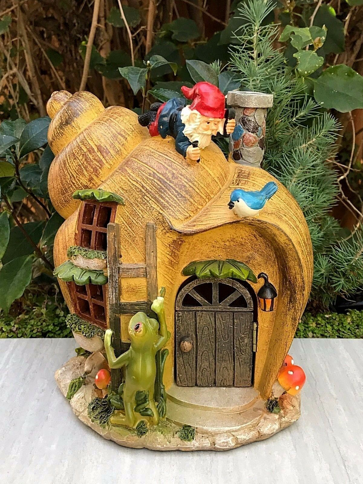 MINIATURE DOLLHOUSE FAIRY GARDEN ~ Snail GNOME House with Solar ...