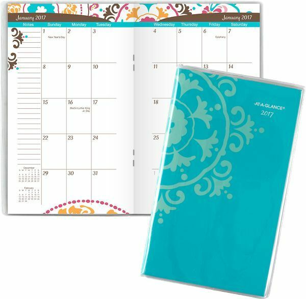 at a glance 2017 2018 suzani 2 year monthly pocket planner