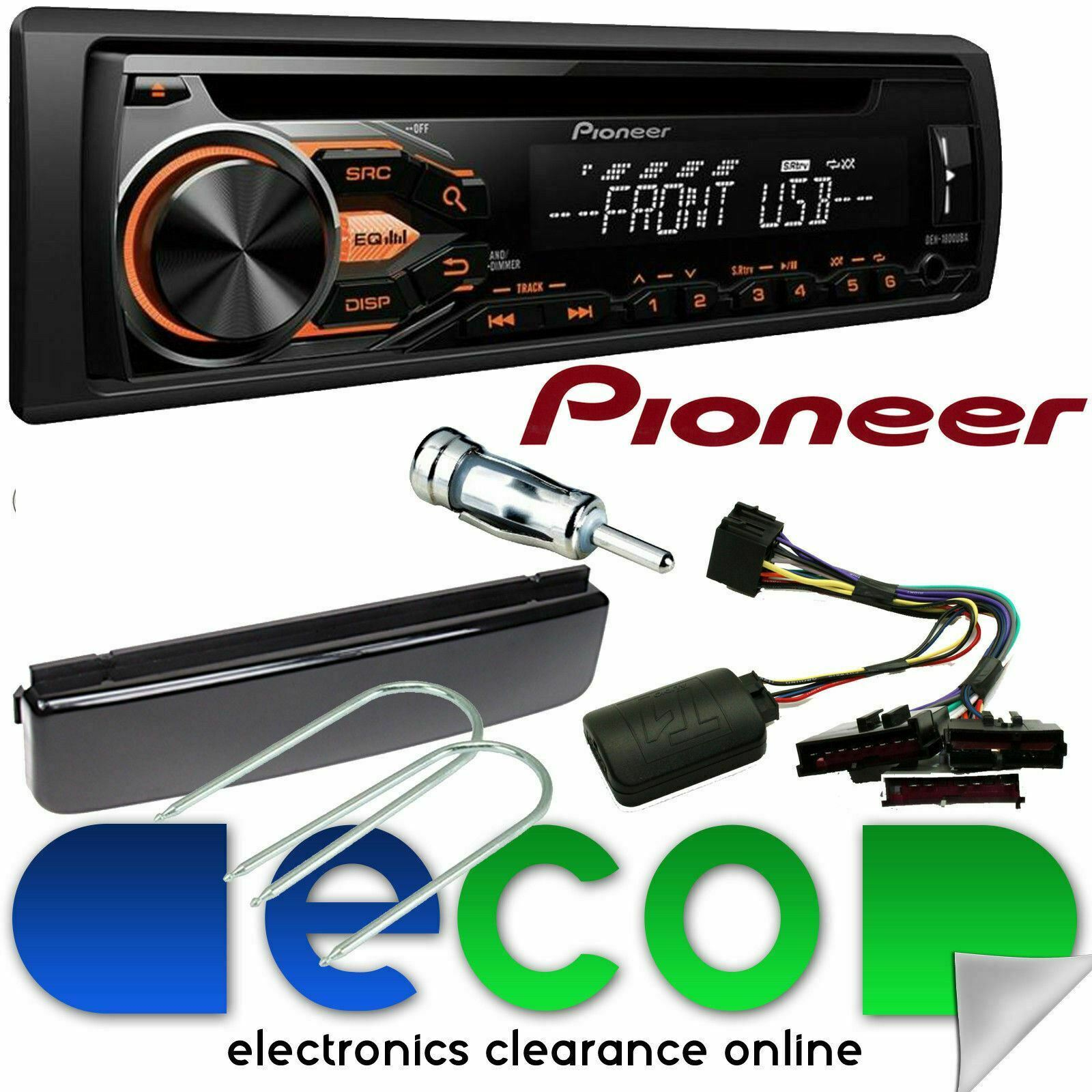 Ford Mondeo Mk2 Pioneer Cd Mp3 Usb Aux Car Stereo Steering Wheel 2007 Fusion Aftermarket Radio Upgrade Kit 1 Of 2free Shipping