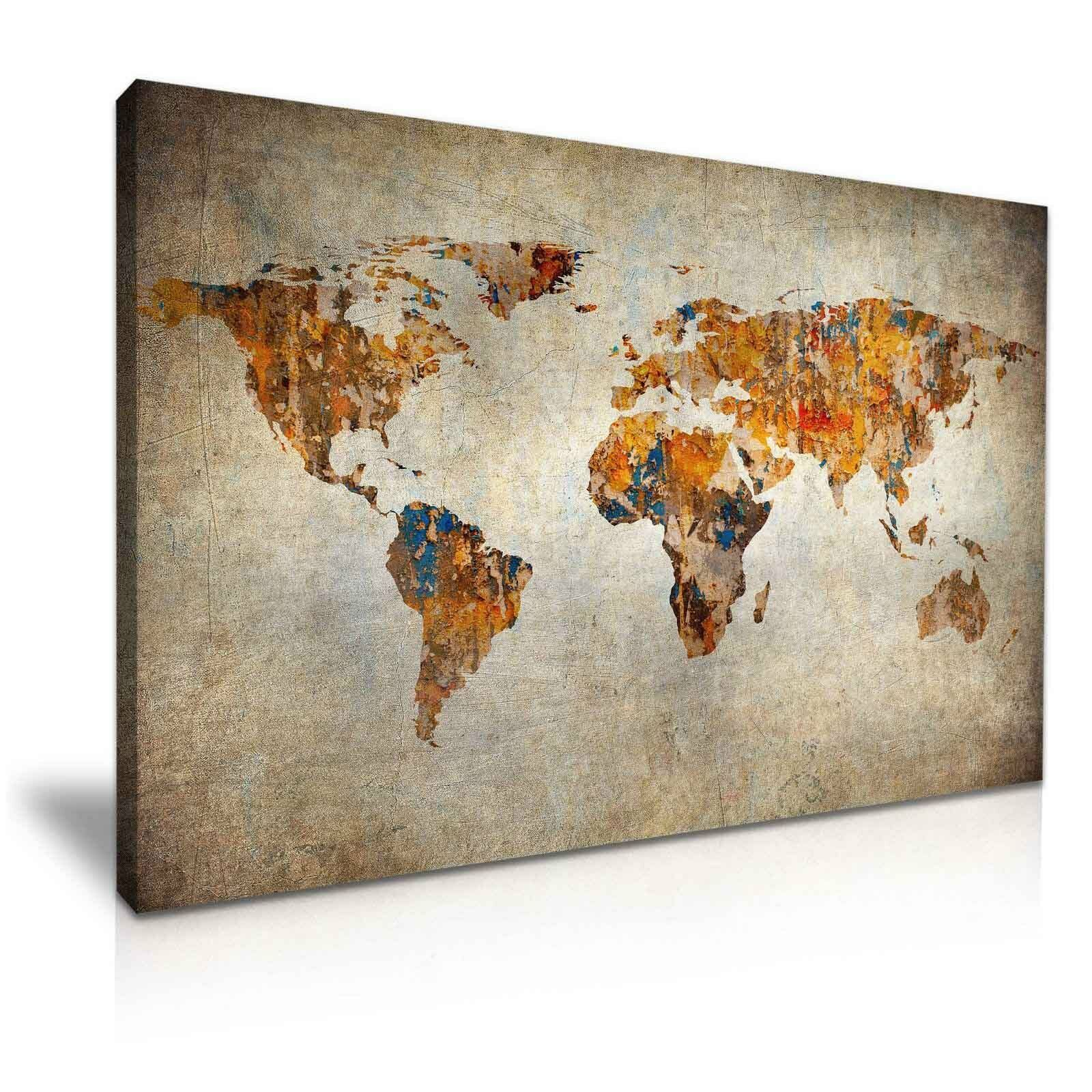 FRAME VINTAGE WORLD Map Canvas Wall Art Picture Print Modern Home ...