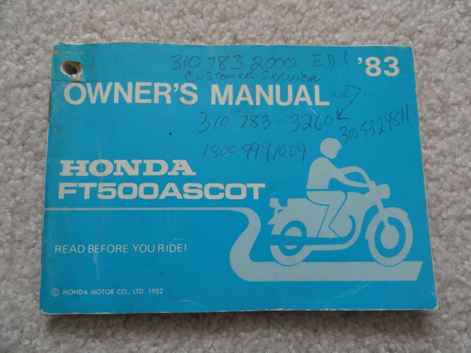1983 Honda FT500 Ascot Owners Manual FT 500 1 of 2Only 1 available ...