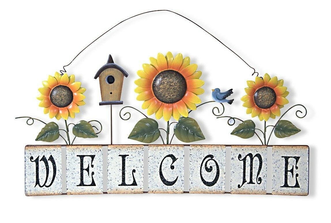 Garden Sunflower Wall Decor : Large spring garden sunflower welcome sign wall d?cor quot l