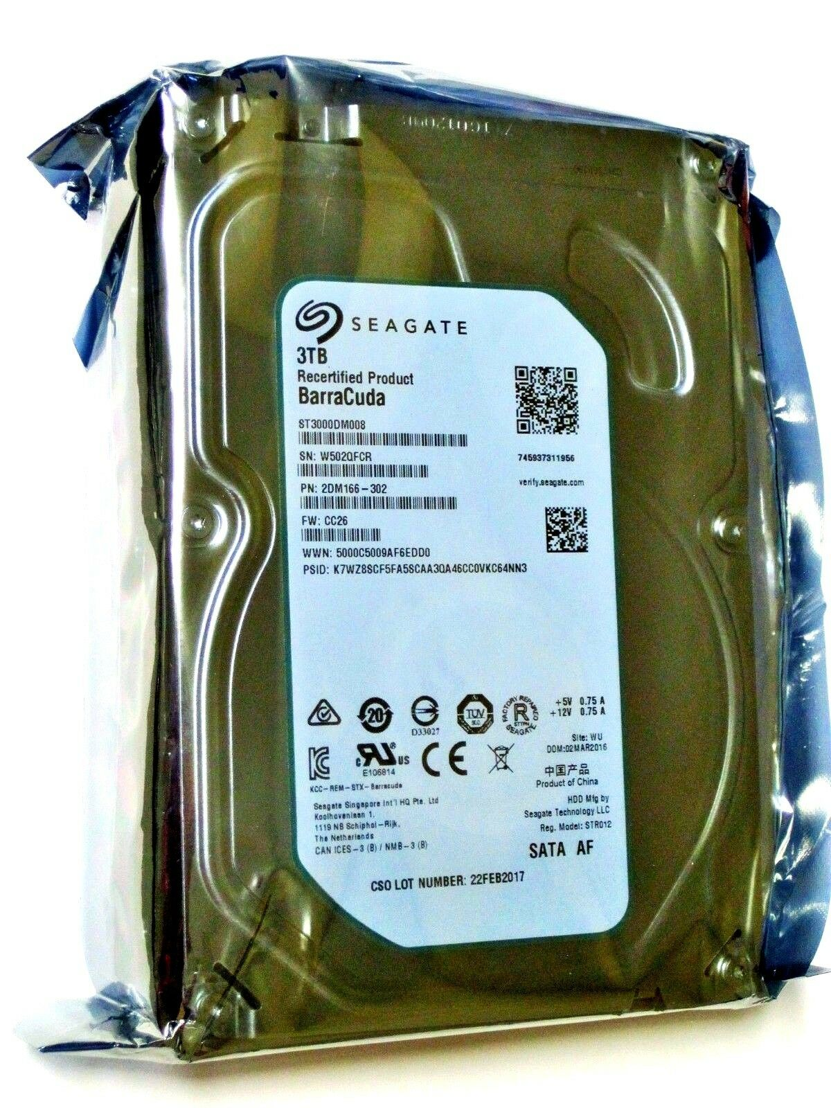 New Seagate Recertified 3tb St3000dm008 Barracuda Sata Iii 6gb S 35 Firecuda Inch 2tb Sshd 5 Years Warranty Hddssd For Pc Gaming 1 Of 3only 0 Available