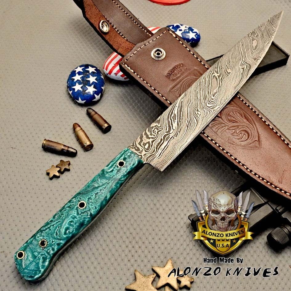 alonzo knives usa custom handmade damascus chef knife corelon handle 3022 picclick. Black Bedroom Furniture Sets. Home Design Ideas