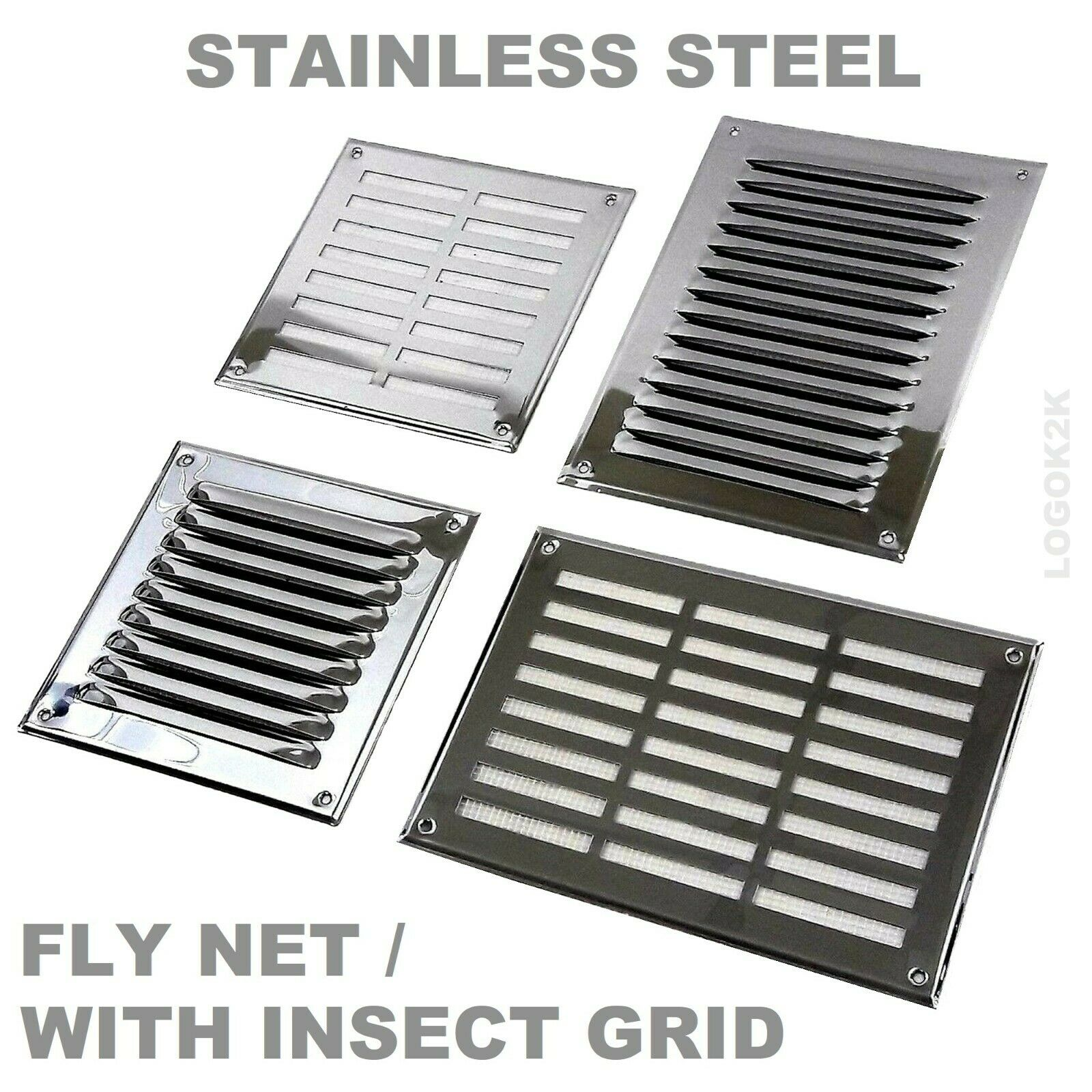 Stainless Steel Louvre Air Vent Grille Cover Metal Duct