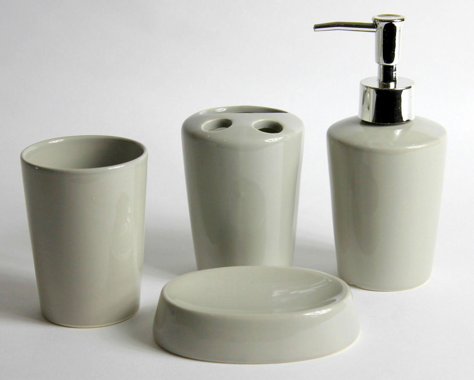 4pc tonal grey ceramic round bathroom accessory set soap dish dispenser tumbler - Bathroom soap dish sets ...