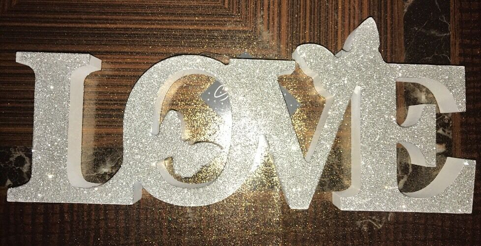 Silver white sparkle glitter bling standing love home for Decoration 11 letters