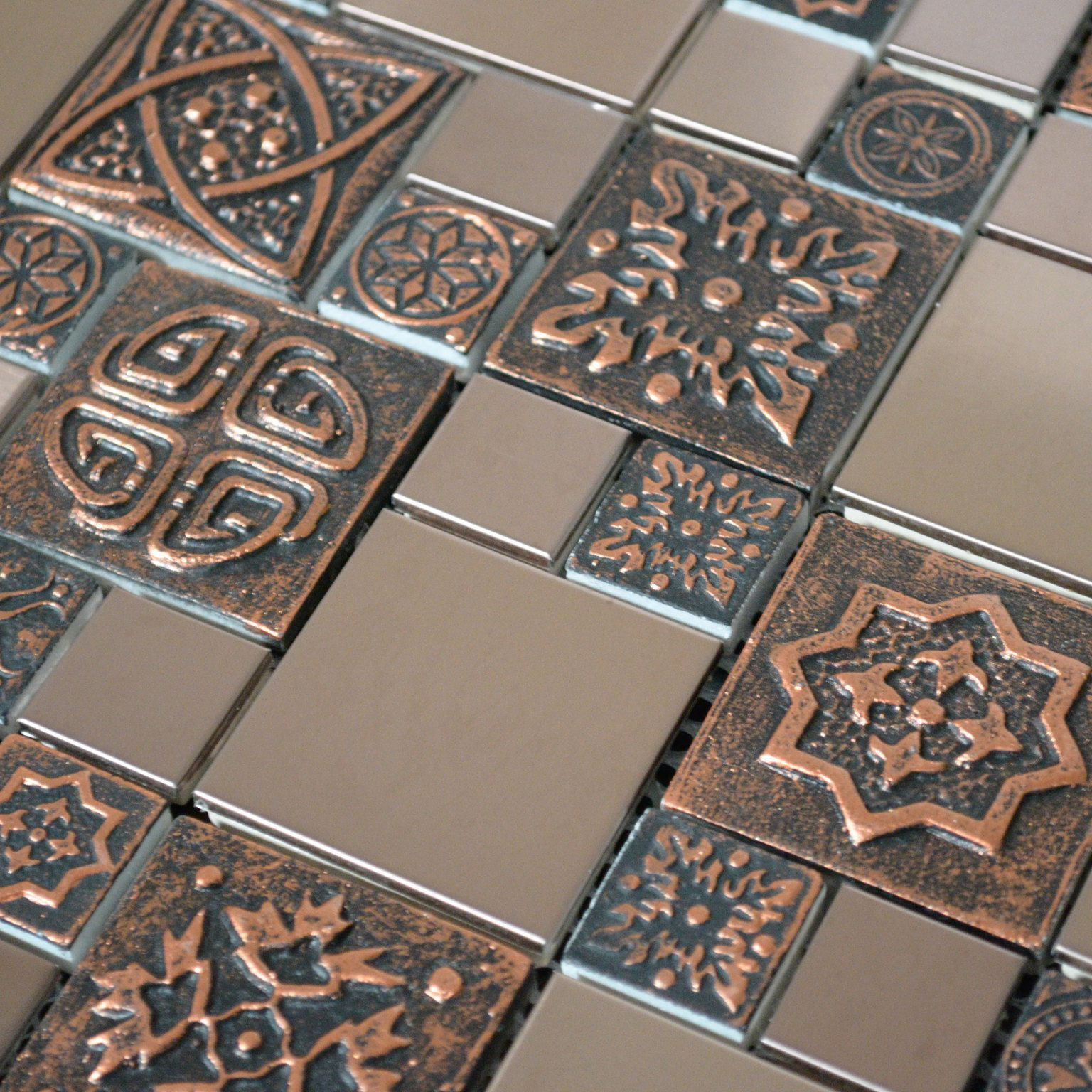 Copper Color Stainless Steel Metal Mosaic Tile For Kitchen