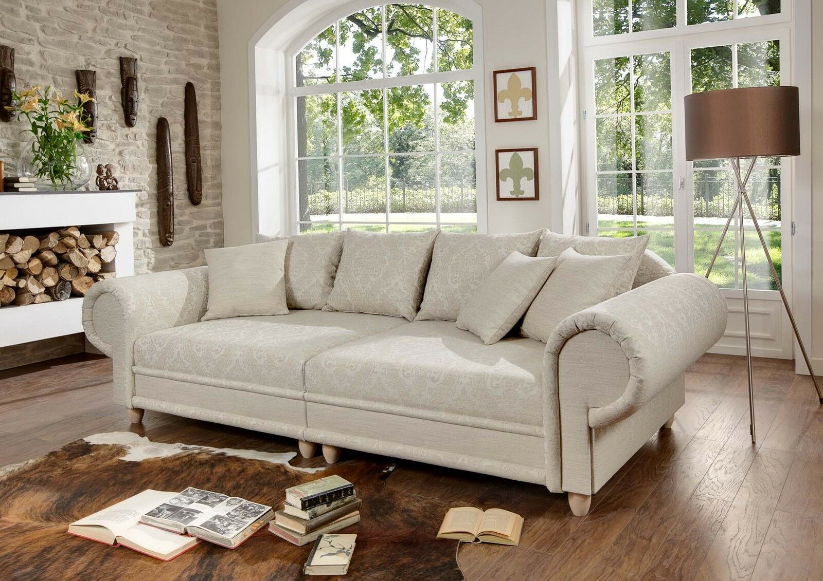 big sofa julia kolonialstil xxl mega kolonialsofa federkern shabby chic eur picclick be. Black Bedroom Furniture Sets. Home Design Ideas