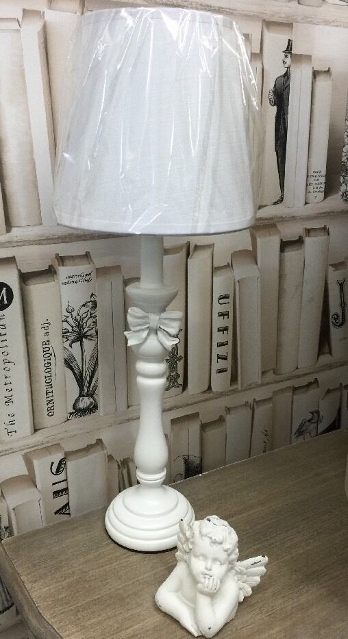 tall white shabby french vintage chic wooden table lamp with bow picclick uk. Black Bedroom Furniture Sets. Home Design Ideas