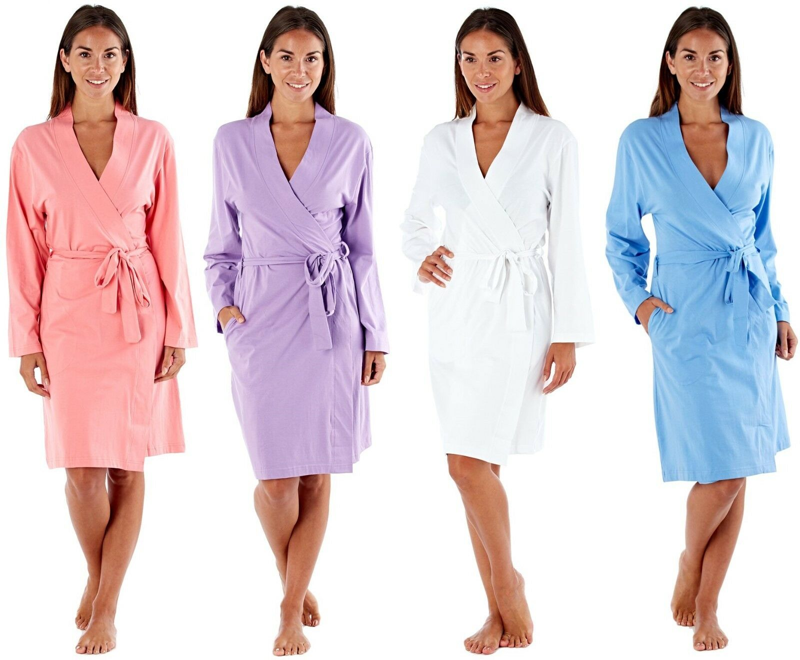 LADIES SUMMER LIGHTWEIGHT thin cotton dressing gown Size 8 to 22 ...