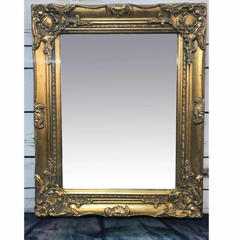 French baroque rococo gold frame antique ornate wall for Large portrait mirror