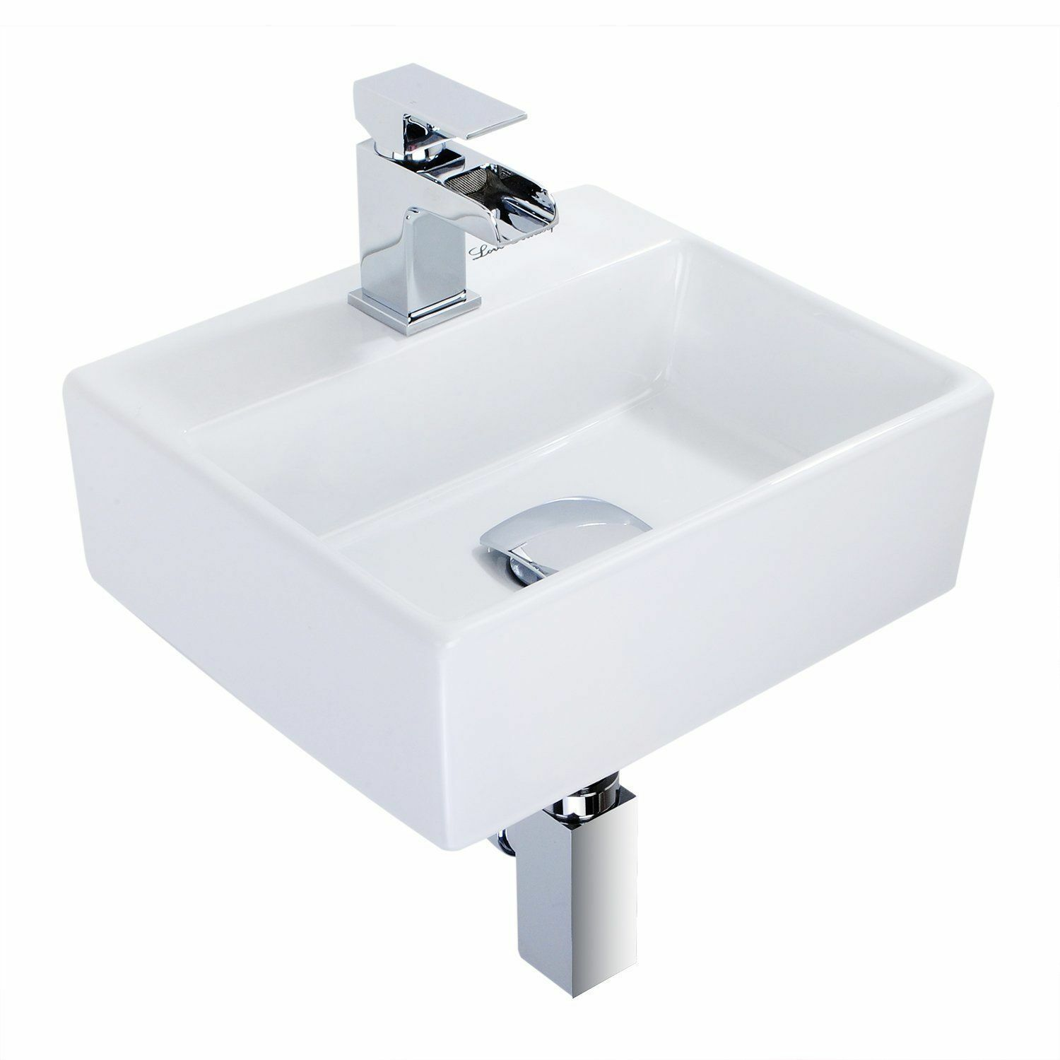 Modern Square Ceramic Small Compact Cloakroom Basin Wall Hung Bathroom Sink Picclick Uk