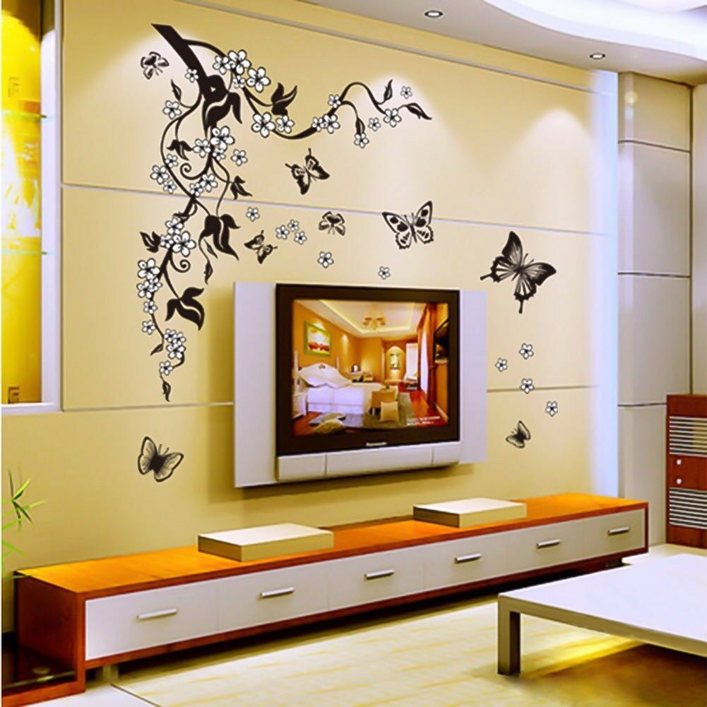 Tree butterflies removable wall stickers diy vinyl art for Diy photo wall mural