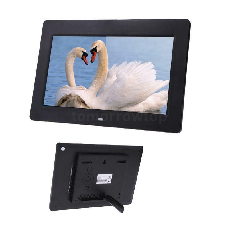 """10"""" HD LCD Digital Photo Frame Picture Clock Movie Player Remote Contorl Black X"""
