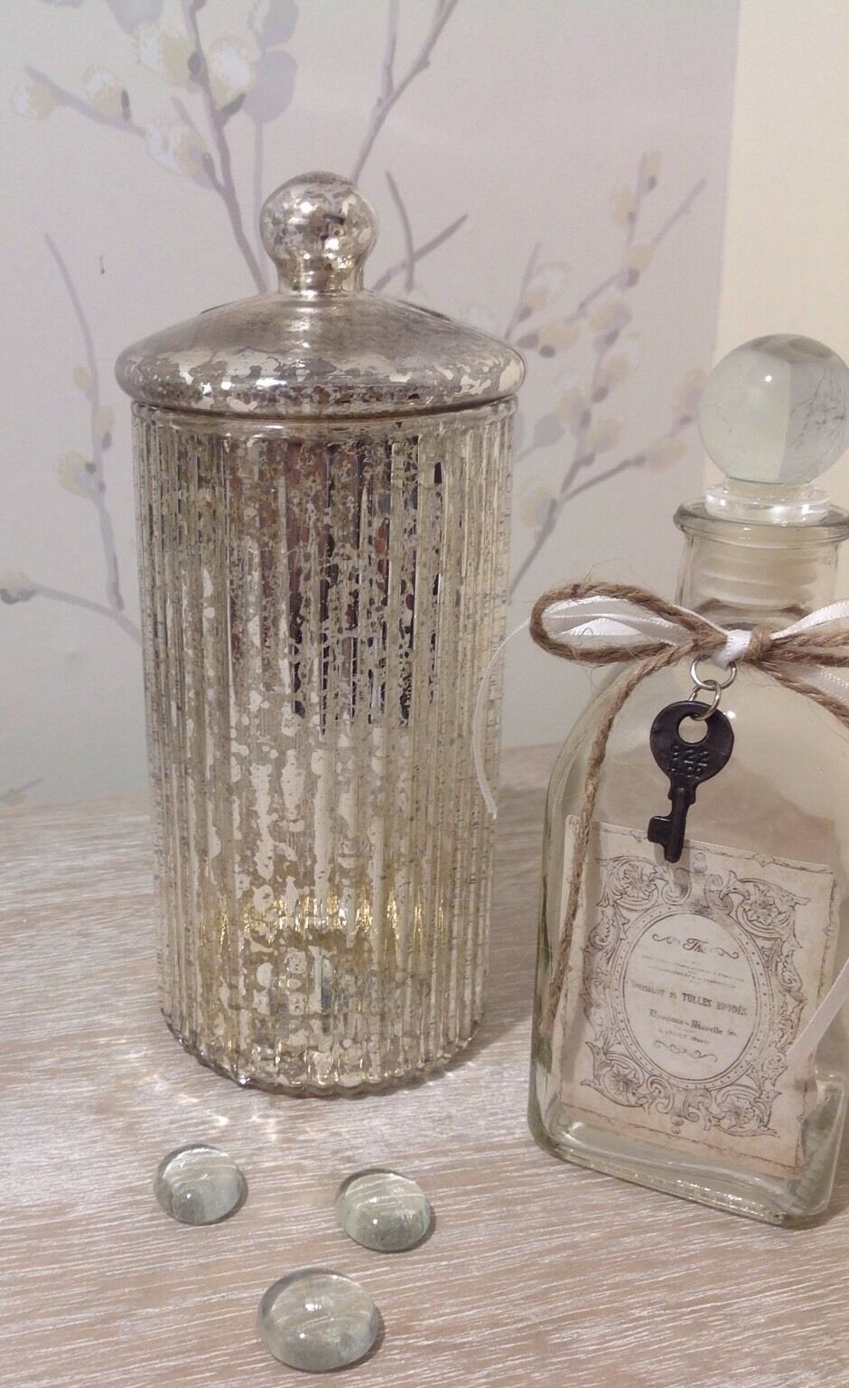 shabby chic vintage gold mercury glass bottle vase with. Black Bedroom Furniture Sets. Home Design Ideas