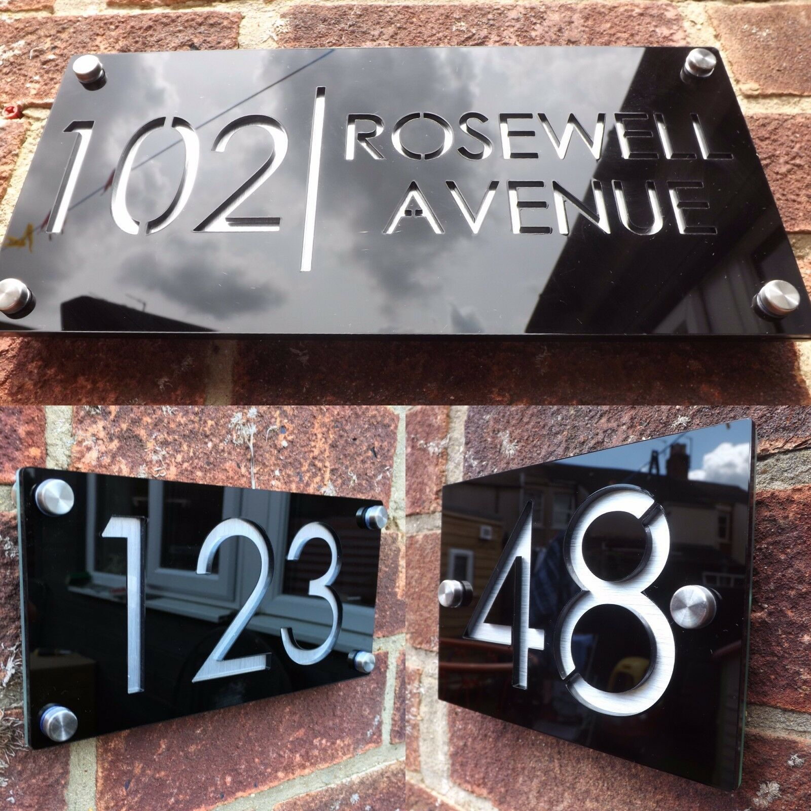 modern house sign plaque door number street name engraved cut acrylic aluminium. Black Bedroom Furniture Sets. Home Design Ideas