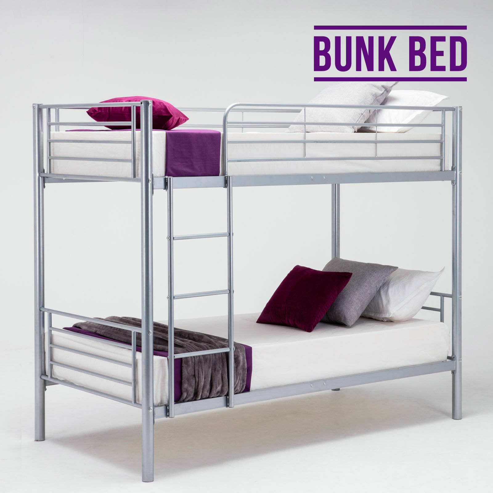 Modern 2x3ft single silver metal bunk bed frame for adult for Single bunk bed