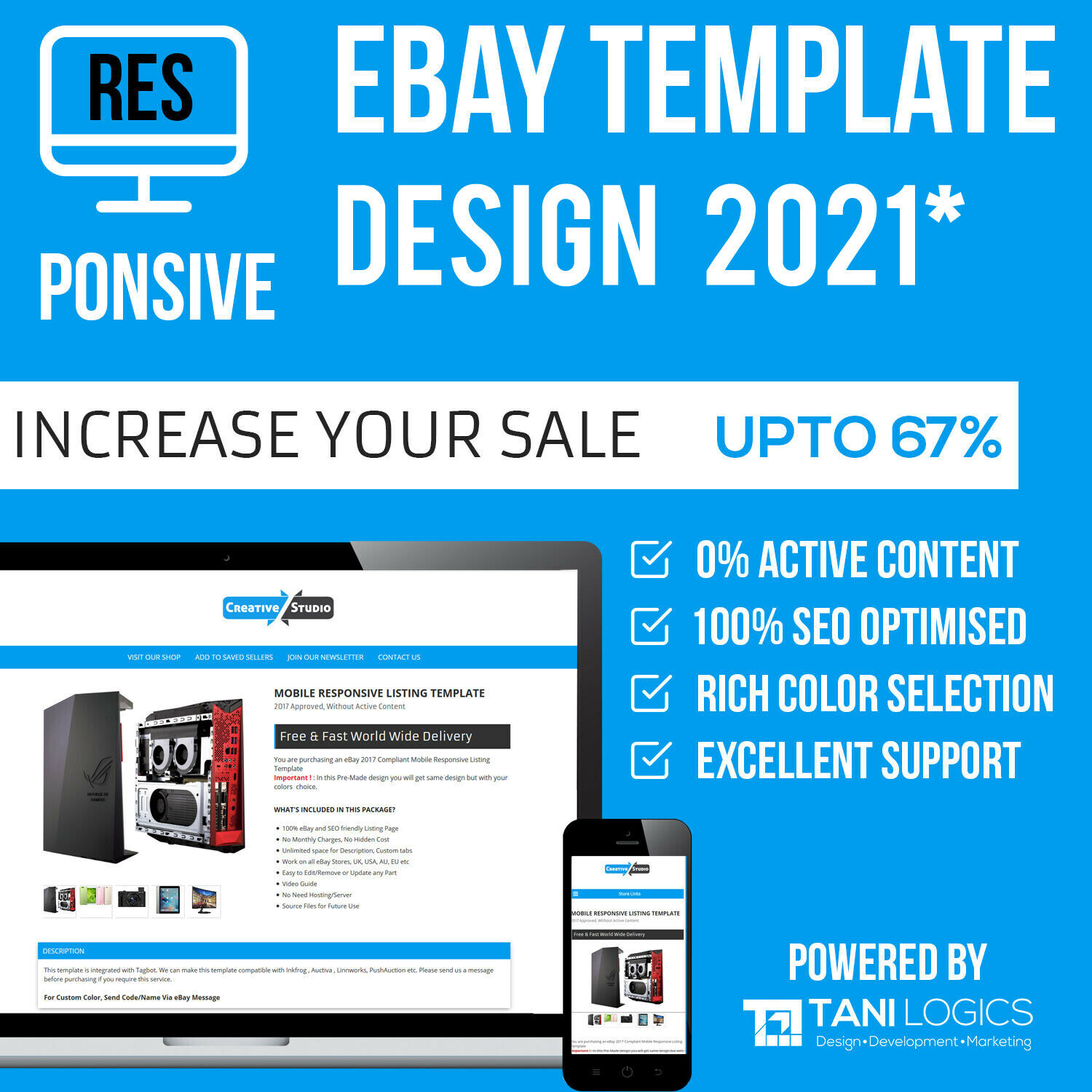 EBAY MOBILE RESPONSIVE Template Auction Listing Professional 2018 ...