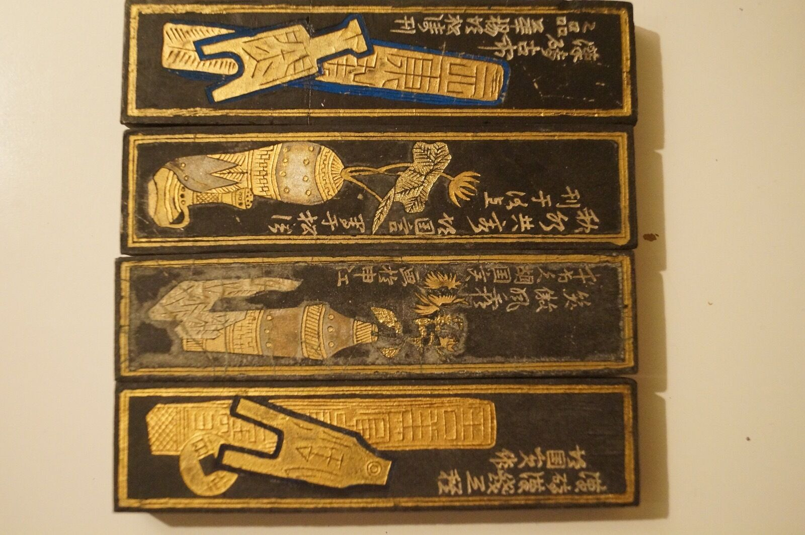 Cased Set Of Chinese Calligraphy Black Ink Sticks Early