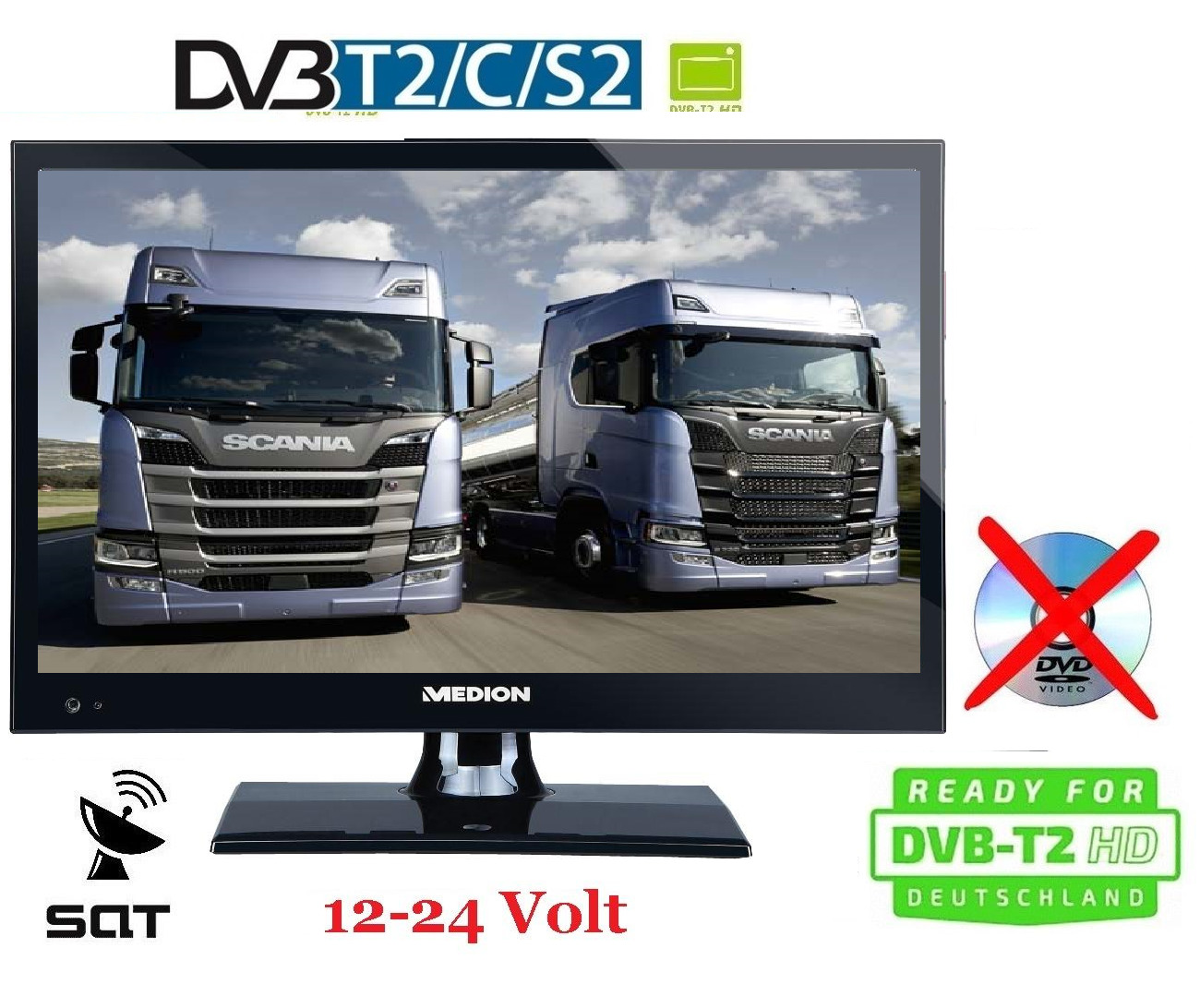 led tv 15 6 zoll 39 6cm fernseher dvb c s2 t2 hd 12 24v. Black Bedroom Furniture Sets. Home Design Ideas