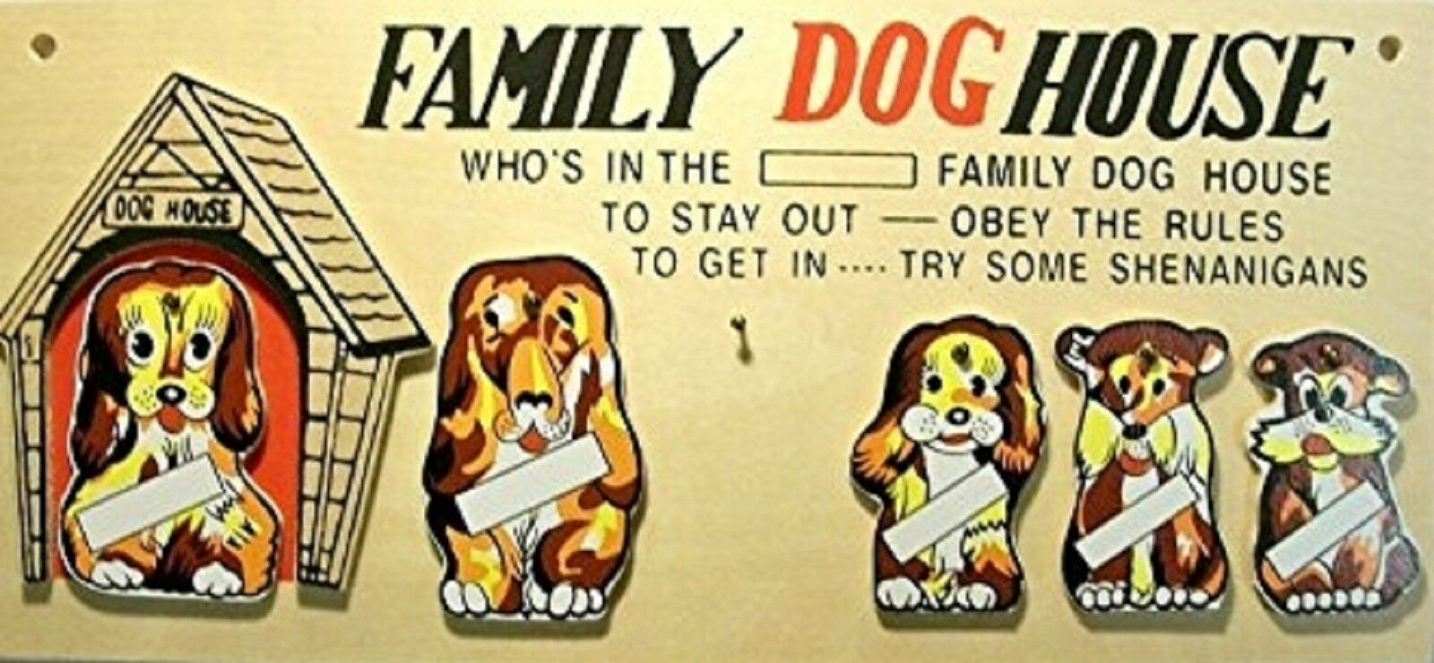 FAMILY DOG HOUSE Wall Plaque - $10.00   PicClick