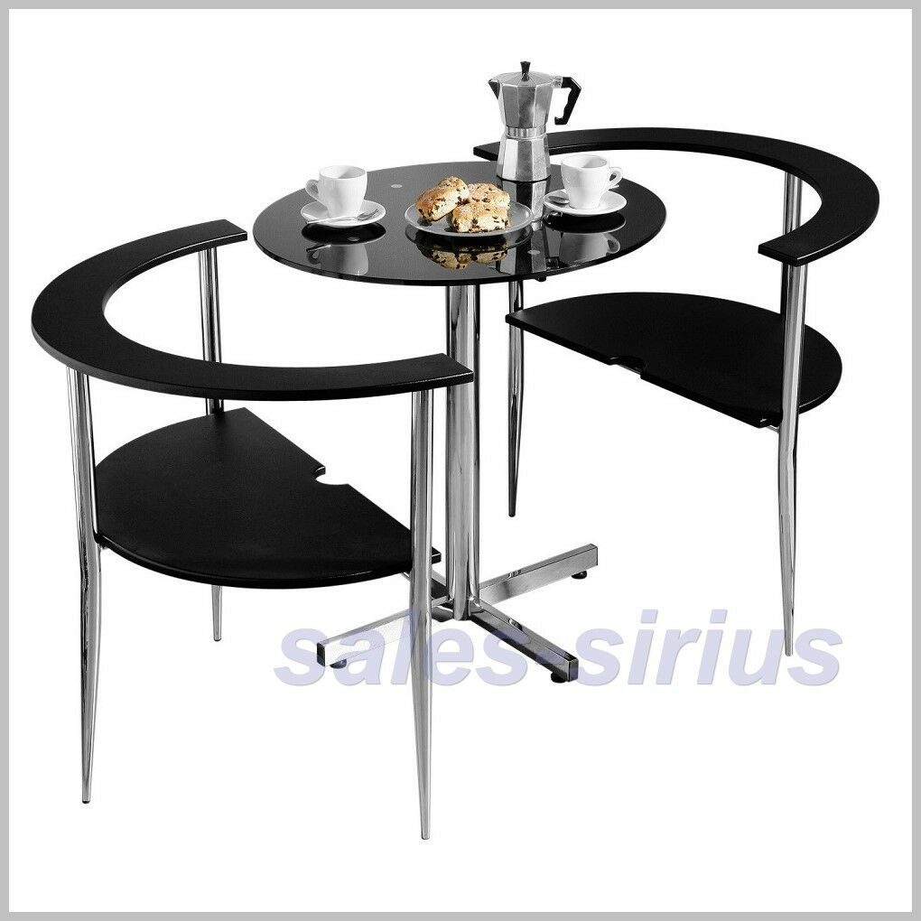 Dining table set 2 chairs bistro black breakfast room for Black kitchen table with chairs