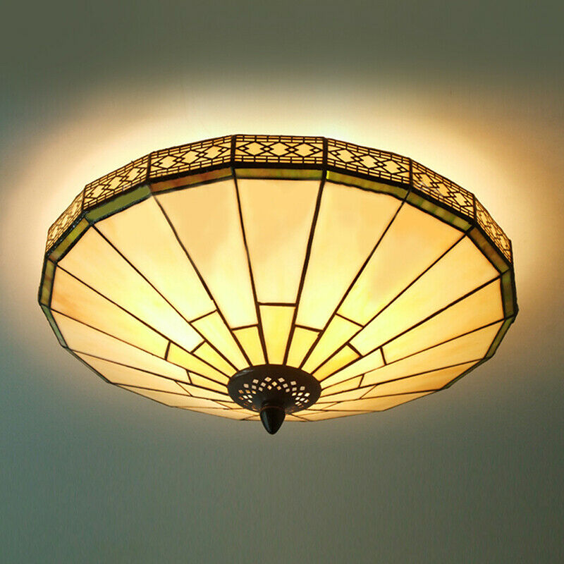 VINTAGE FLUSH MOUNT Ceiling Light Tiffany Style Stained Glass Shade ...