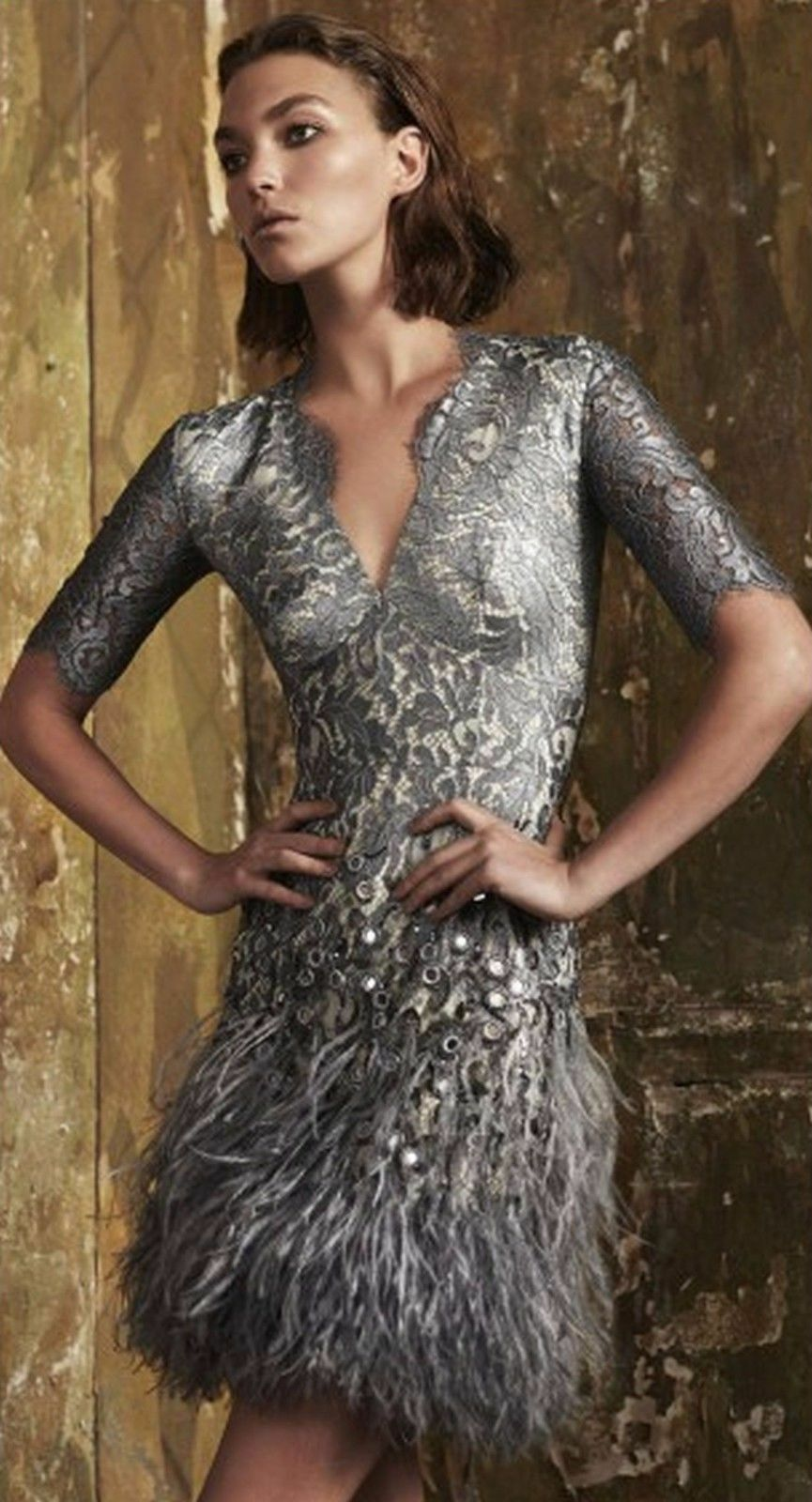 New Authentic Matthew Williamson Mirror Feather Lace Silver Dress Offer Accepted 1 Of 6only Available
