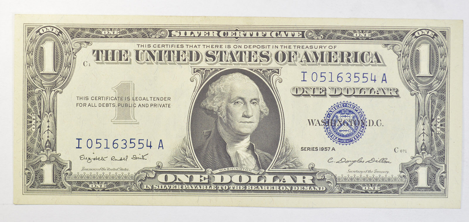 1957 1 Uncirculated Dollar Bill Silver Certificate Currency Blue