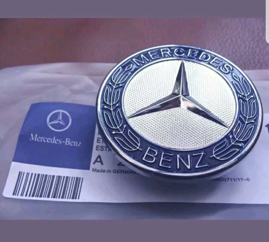 Mercedes benz sport bonnet badge 57mm new c e s clk for Mercedes benz bonnet badge