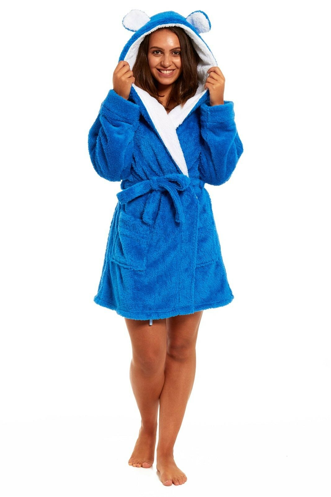 WOMEN\'S NEW THICK fluffy fleece dressing gown with belt ears on hood ...
