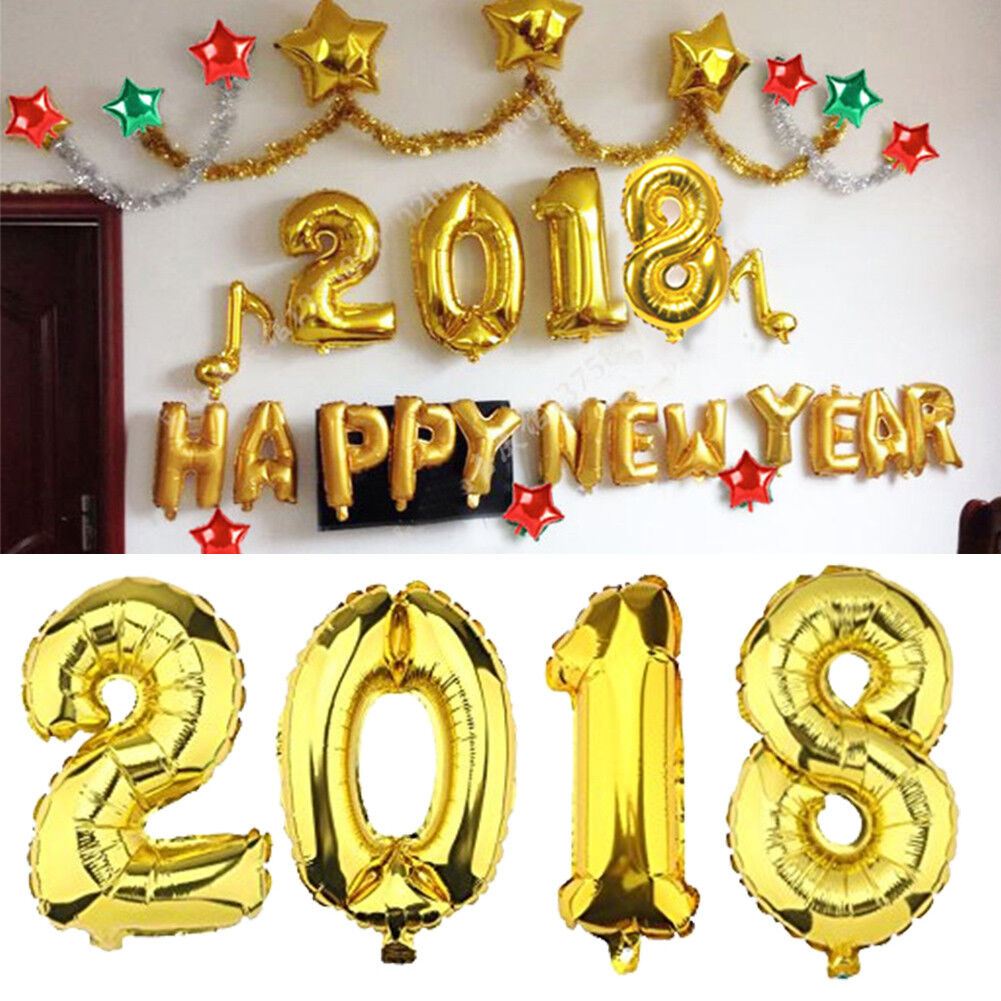 2018 gold aluminum foil balloon new year letter events for Decoration 2018