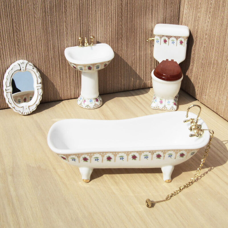 112 mini dollhouse miniature toilet bathroom set